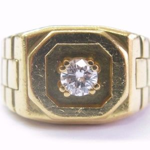 ABL Men's 18Kt Round Cut Diamond Solitaire Yellow